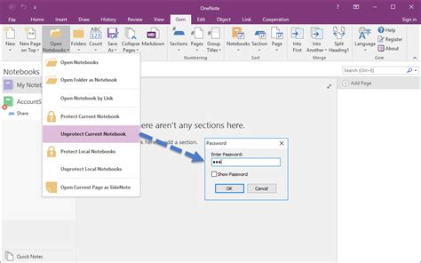 onenote visio how to password protect current onenote notebook office