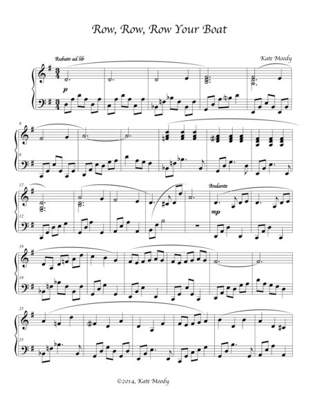 row row your boat music download row row row your boat sheet music by kate moody