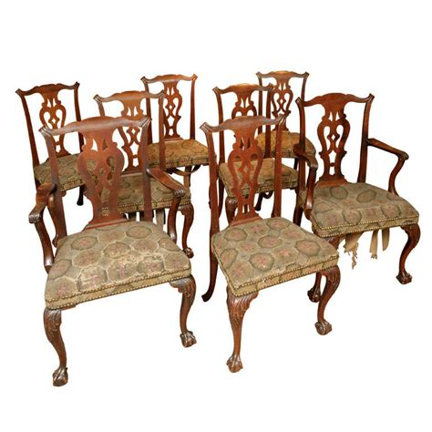 fine set eight chippendale period mahogany dining