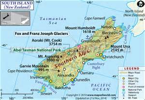 south island map new zealand