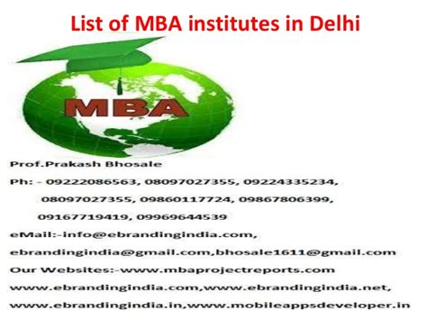 Mba In Tourism Management In Delhi by List Of Mba Institutes In Delhi