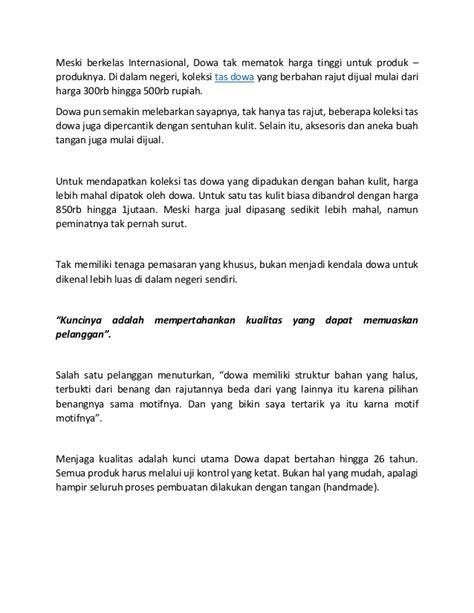 Harga Tas Merk Dowa Yogyakarta tas dowa jogja menembus pasar internasional
