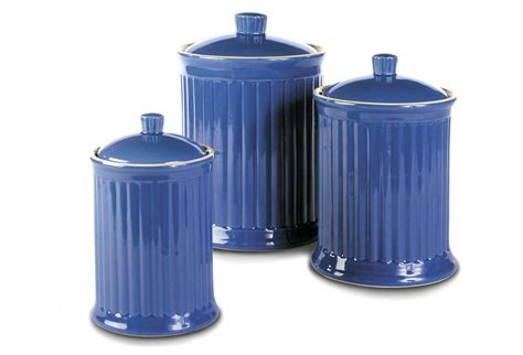 blue kitchen canister 3 pc canister set blue kitchen from one kings lane epic