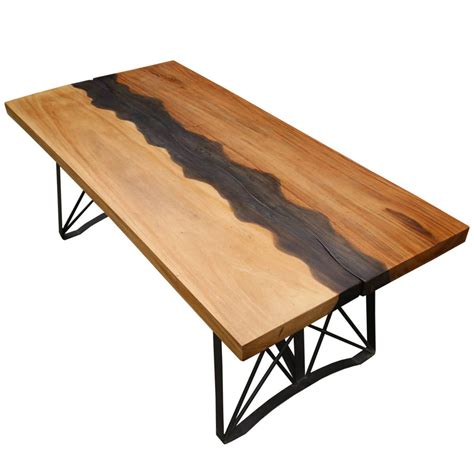 torrance iron base  edge large industrial dining table