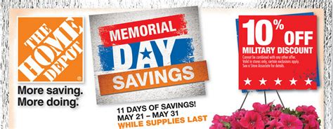 couponing home depot memorial day sale