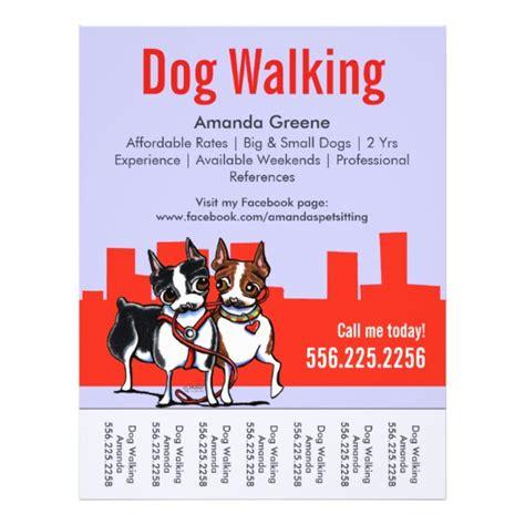 Dog Walking Walker Boston Terriers Tear Sheet Zazzle Com Walking Flyer Template Free