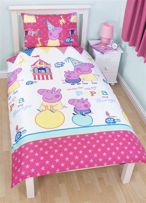 peppa pig comforter set new peppa pig funfair single duvet quilt cover white