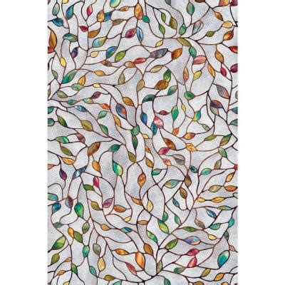 decorative window film home depot artscape 24 in x 36 in new leaf decorative window film