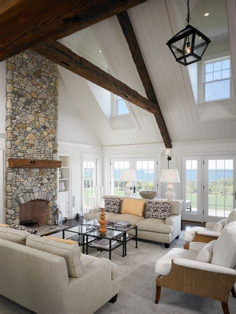 cathedral ceiling ideas warm up your home with an awesome stone fireplace