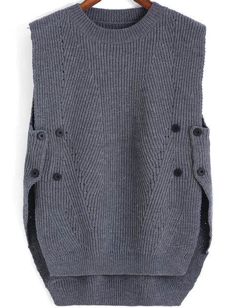 how to knit sweater neck grey neck buttons knit sweaterfor romwe