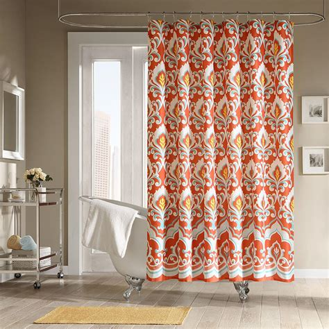 Orange and teal shower curtain home design plan