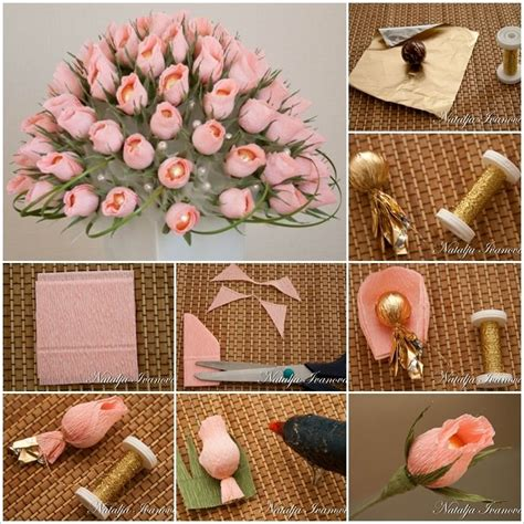 How To Make A Paper Flower Bouquet For - diy beautiful chocolate and crepe paper flower bouquet