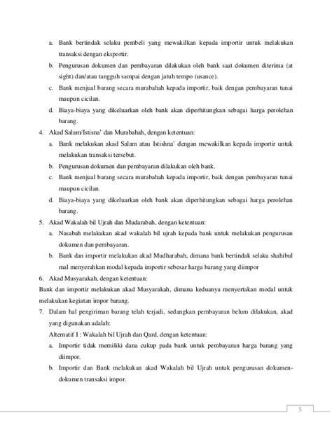 Bentuk Credit Letter letter of credit impor syariah