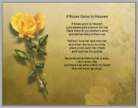 personalized if roses grow in heaven prayer mother poem | ebay