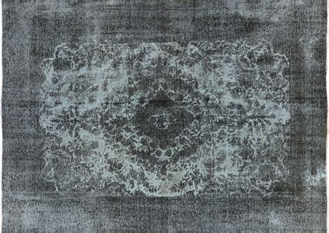 Octagon Rug Unique 8x12 Blue Gray Overdyed Wool Hand Knotted Tabriz