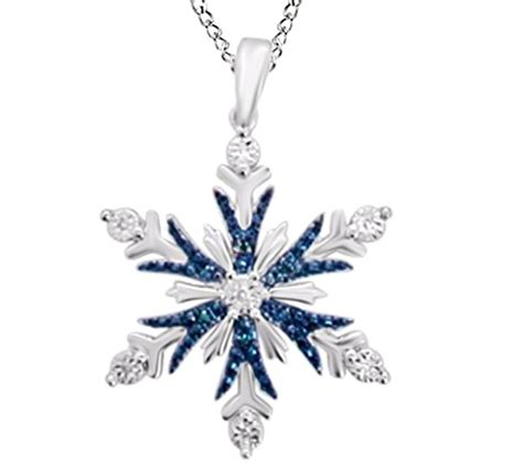 Sterling Silver Snowflake Pendant blue white accent snowflake pendant