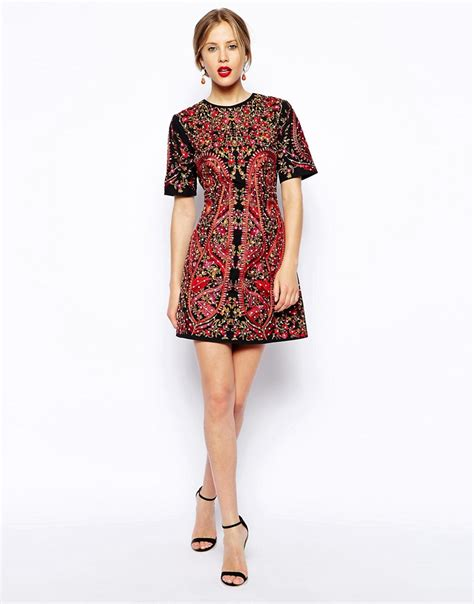 Premium Dress Embroidery Aic asos asos premium embroidered shift dress at asos