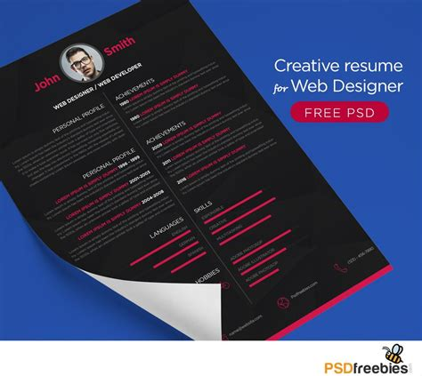creative cv template free psd download free creative resume for web designer psd