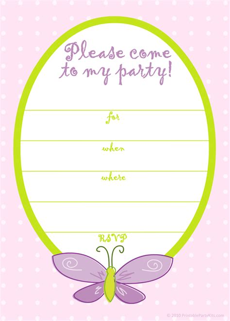 free printable party invitations free pink butterfly