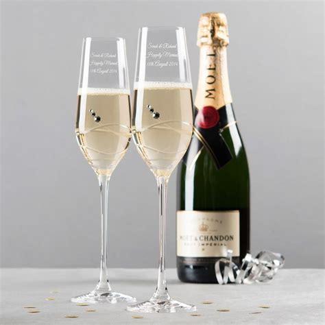 Engraved Swarovski® Crystal Champagne Flutes   Swirls