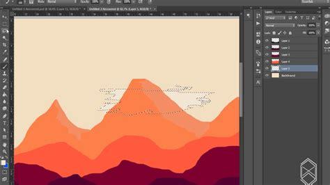 tutorial flat design dengan photoshop tutorial photoshop cc flat design landscape youtube