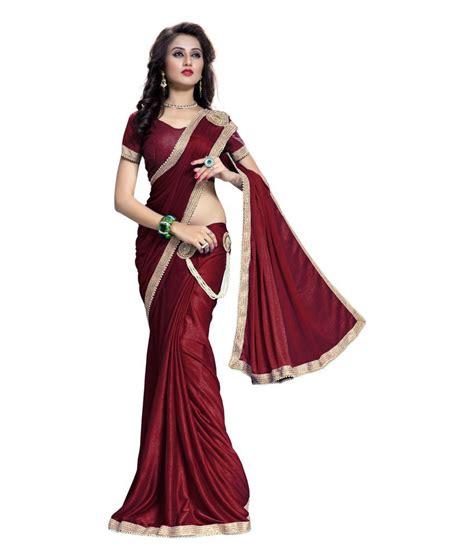 Fashion Maroon bhuwal fashion maroon lycra saree buy bhuwal fashion