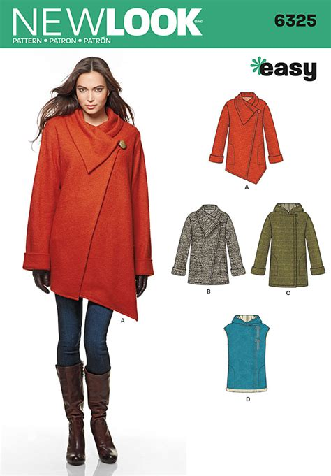 coat pattern ease new look 6325 misses easy coat with length and front