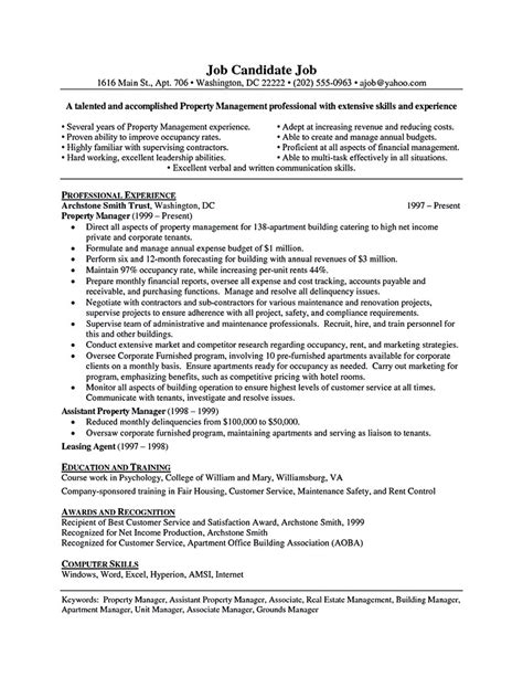 Resume Templates Property Manager by Assistant Property Manager Resume Template