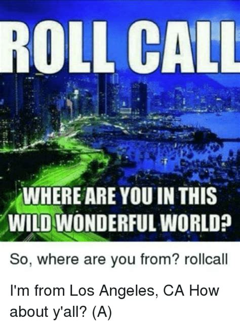 roll call where are you inthis wild wonderful world so where are you from rollcall i m from los