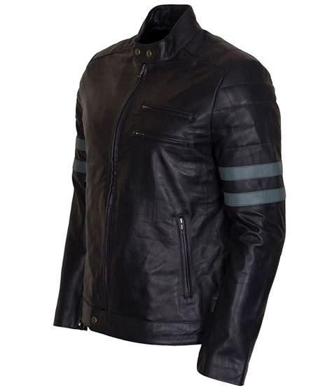 Jaket Stripe mens blue stripe retro biker leather jacket usa