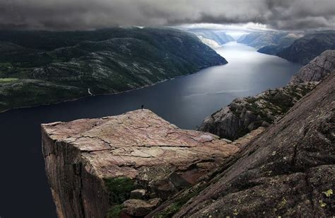 nature landscape preikestolen norway fjord mountain