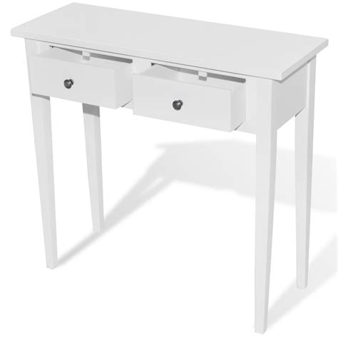 white dressing console table with two drawers vidaxl
