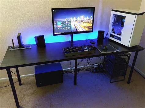 Computer Desk Setup Cool Gaming Computer Desk Setup With Black Ikea Desk Linnmon Adils Minimalist Desk Design Ideas