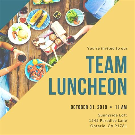 Yellow And Blue Luncheon Invitation Templates By Canva Free Luncheon Flyer Template