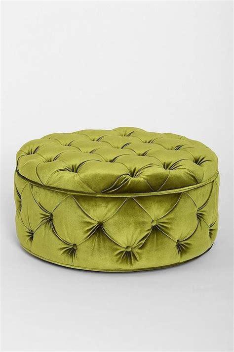 green tufted ottoman green button tufted large round velvet storage ottoman