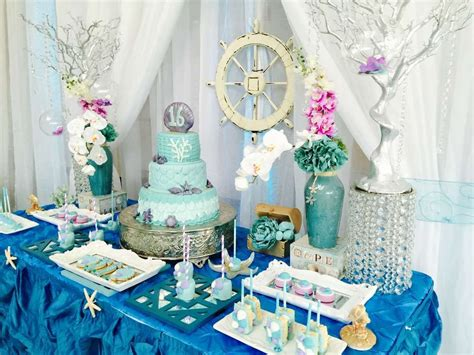 quinceanera themes under the sea under the sea quincea 241 era party ideas dessert table