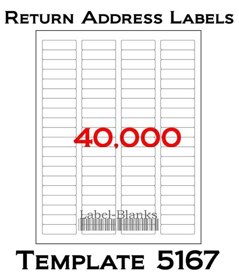 40000 Laser Ink Jet Labels 80up Return Address Template Printable Address Label Template