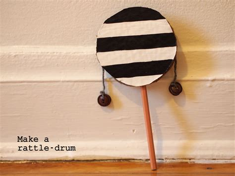 How To Make A Musical Instrument Out Of Paper - make a rattle drum pink stripey socks
