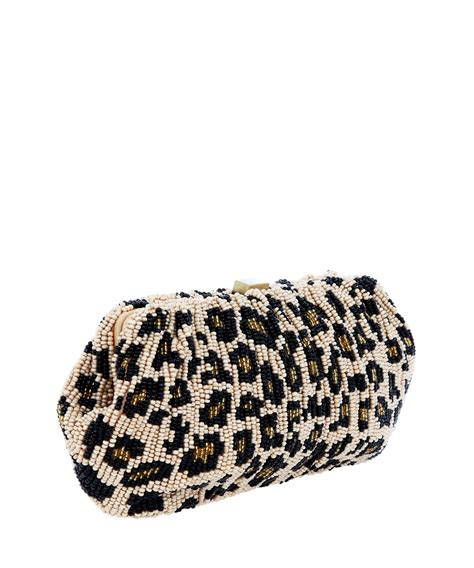 lyst leopard print beaded clutch bag