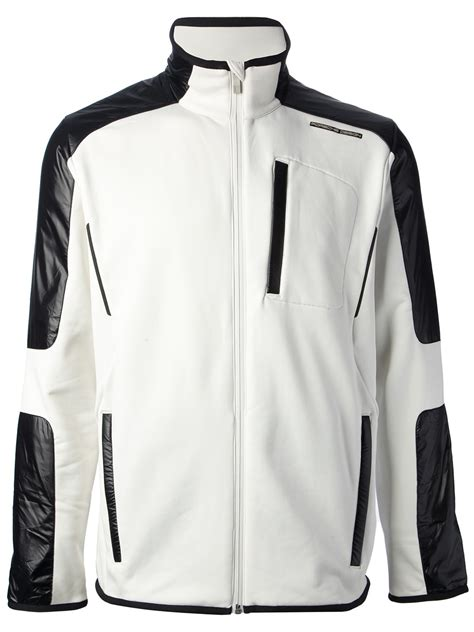 design white jacket porsche design zipped jacket in white for men lyst