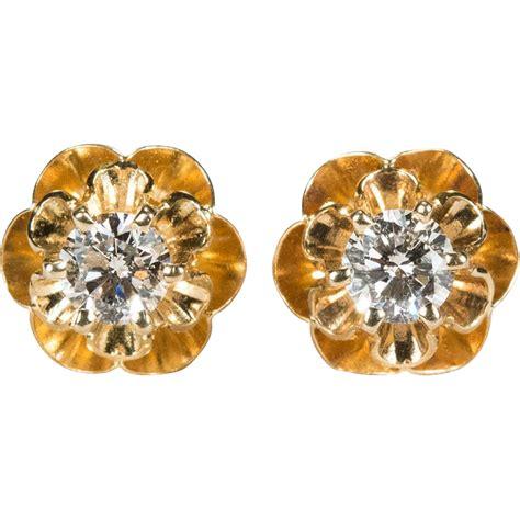 Buttercup Gold solitaire earrings 14k gold buttercup flower
