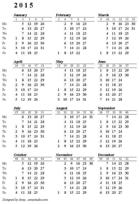 printable yearly calendar by week week number calendar 2015 search results calendar 2015