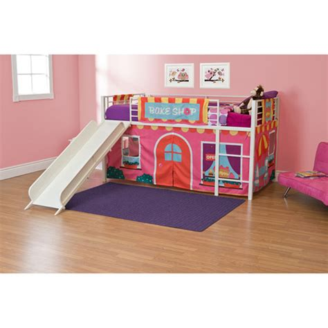 walmart loft bed with slide girls bakeshop twin loft bed with slide white walmart com