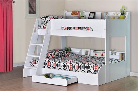 Flick Triple Bunk Bed In White Rainbow Wood White Bunk Bed Uk