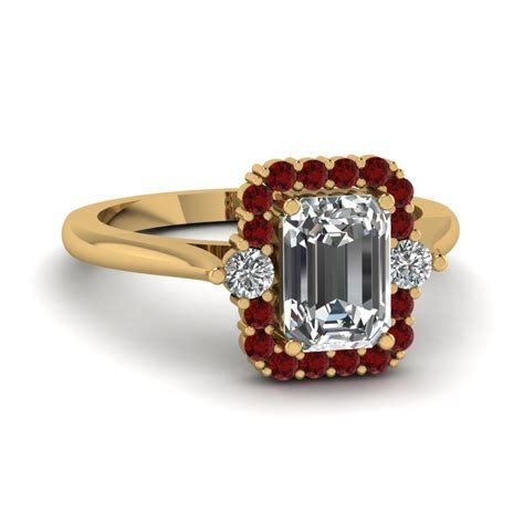 emerald cut high set halo ring with ruby in 14k