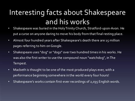 shakespeare biography quick facts shakespeare s life