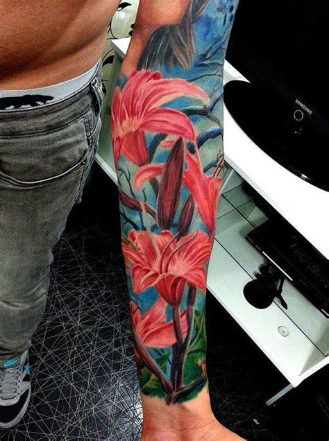 quarter sleeve lily tattoo 70 lily flower tattoos designs for women dzine mag