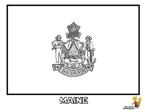 Maine Flag Coloring Page gallant state flags coloring idaho montana free