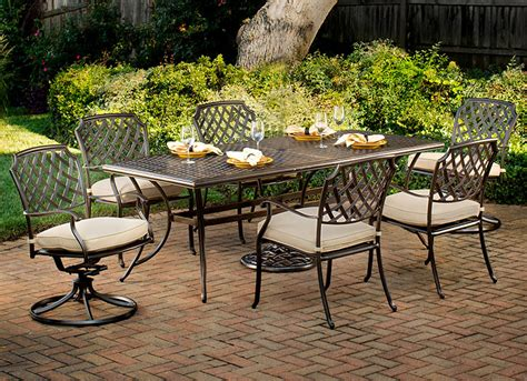 Agio Patio Chairs Agio Sandalwood 7 Patio Dining Set
