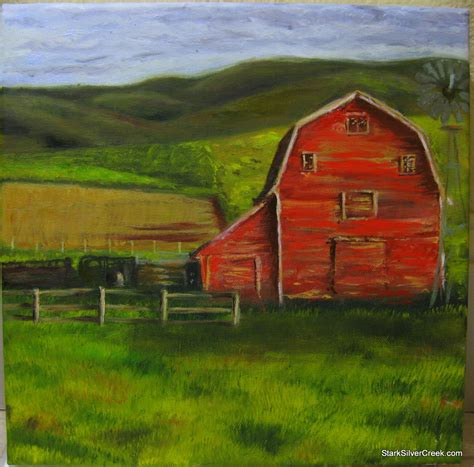 scheune gemalt my third painting constructing the barn and the